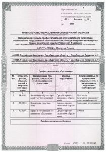 Приложение к лицензии - 01